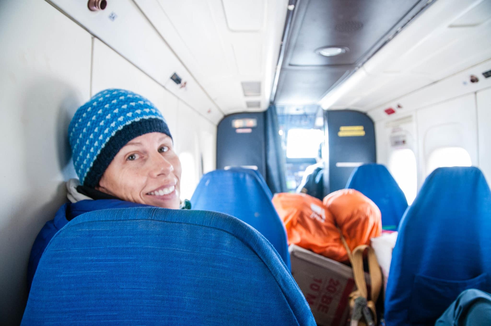 Julie on the flight to Lukla