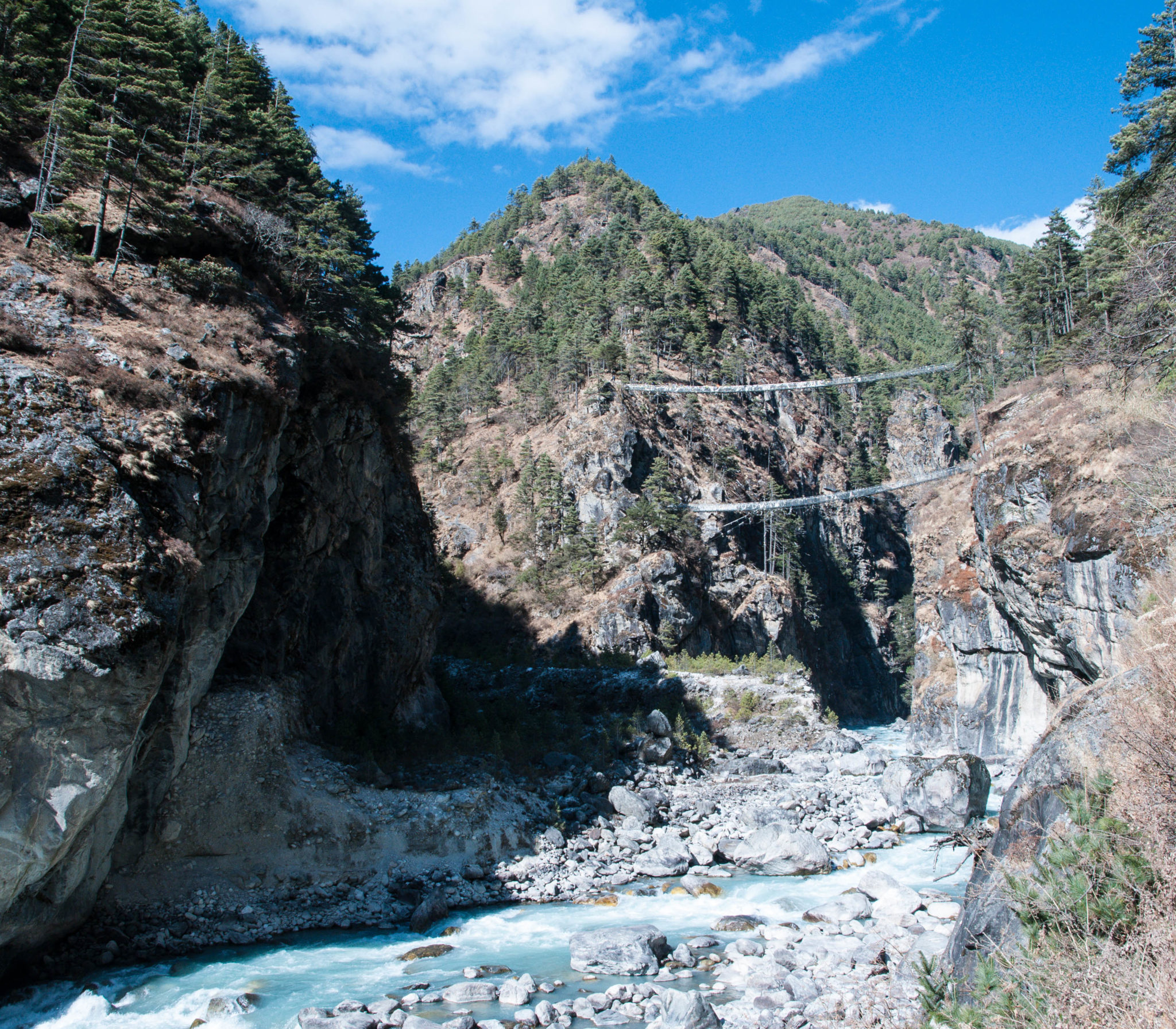 Final suspension bridge to reach the big hill to climb on to Namche