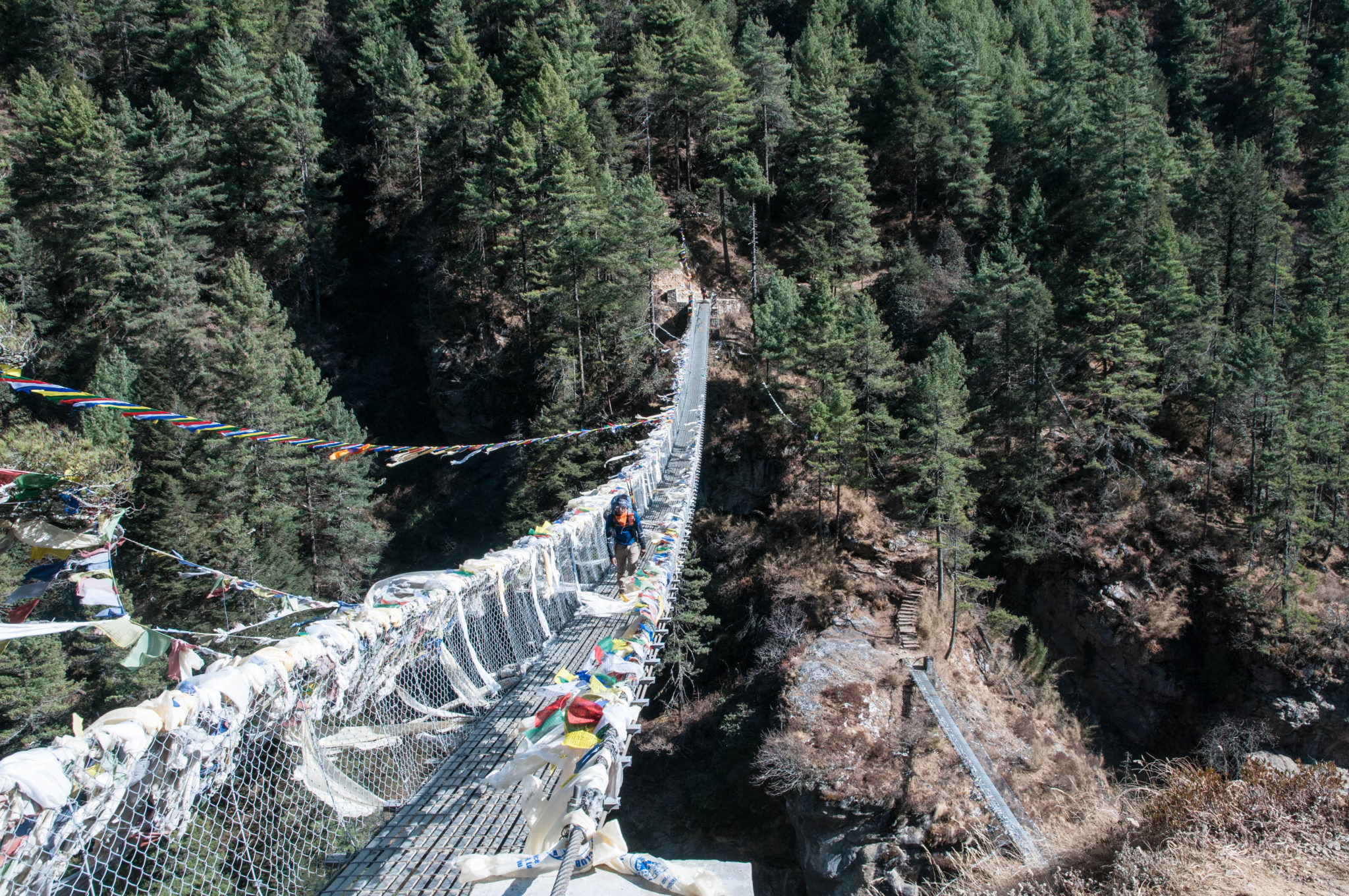 New and Old Suspension Bridges before the big hill climb to Namche Bazaar