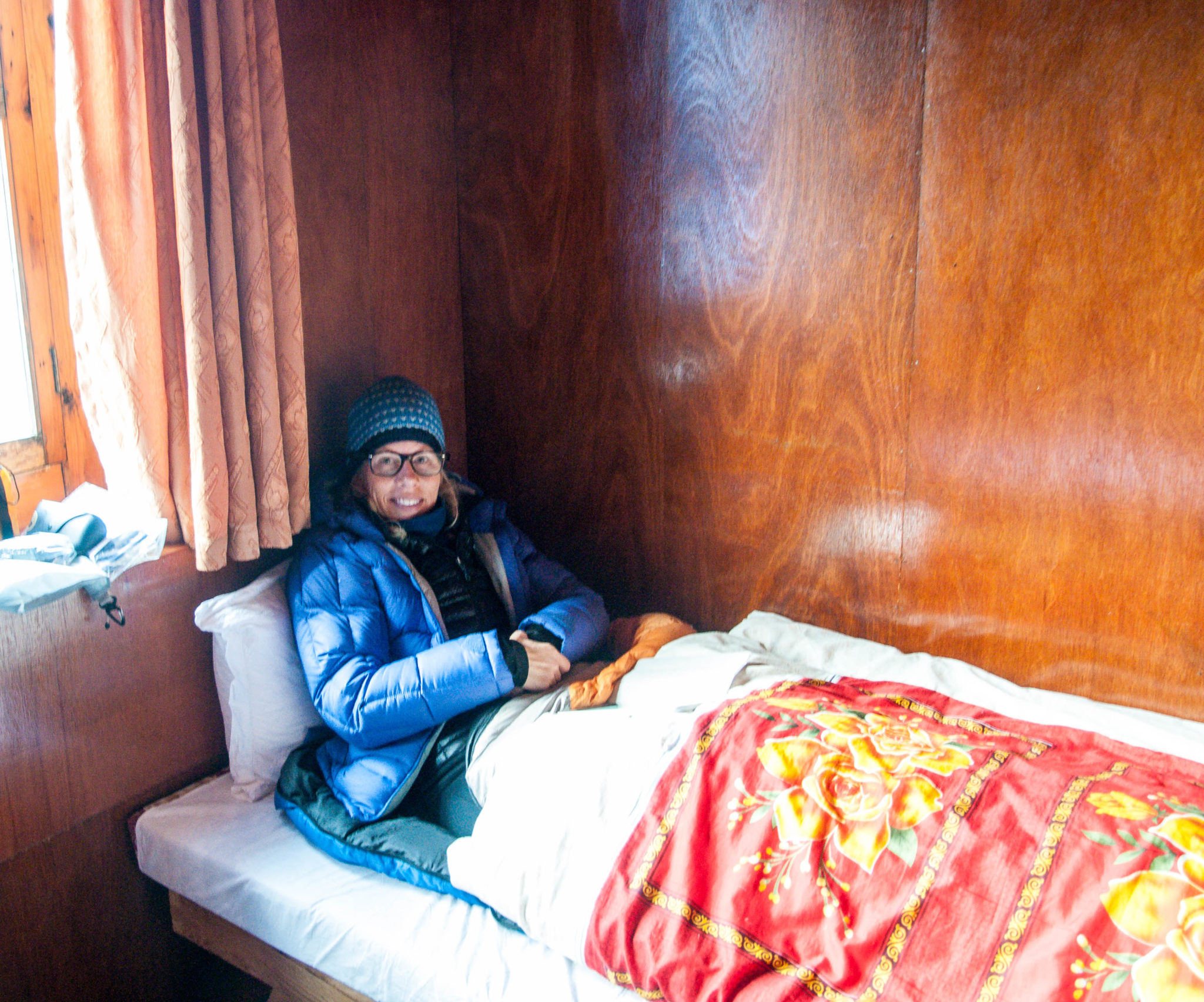 Julie taking it easy in our Namche teahouse