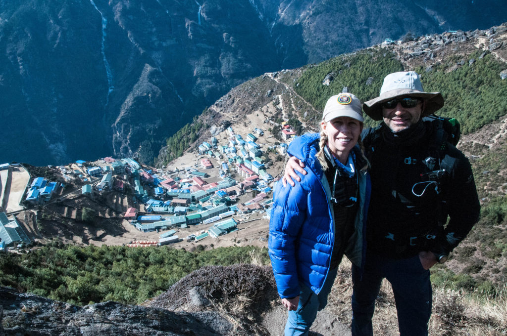Julie and Shawn above Namche Bazaar