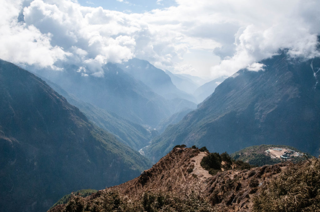 The View down towards Lukla