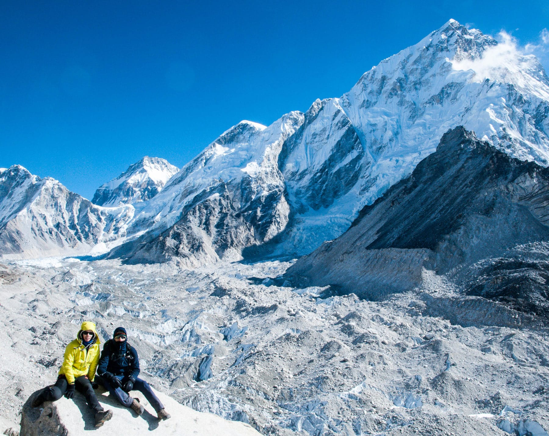 Julie and Shawn in front of the Khumbu Glacier