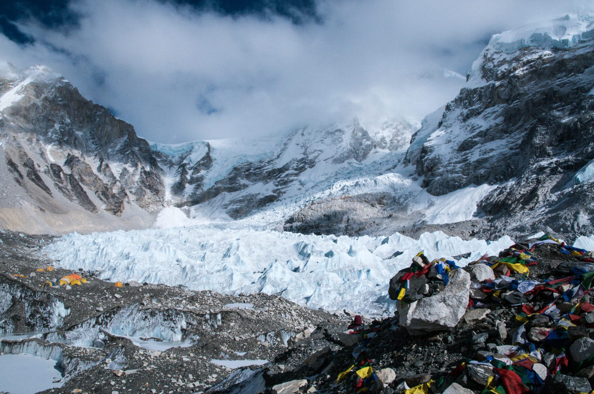 Mount Everest Base Camp with Spanish climbing party attempting a winter ascent