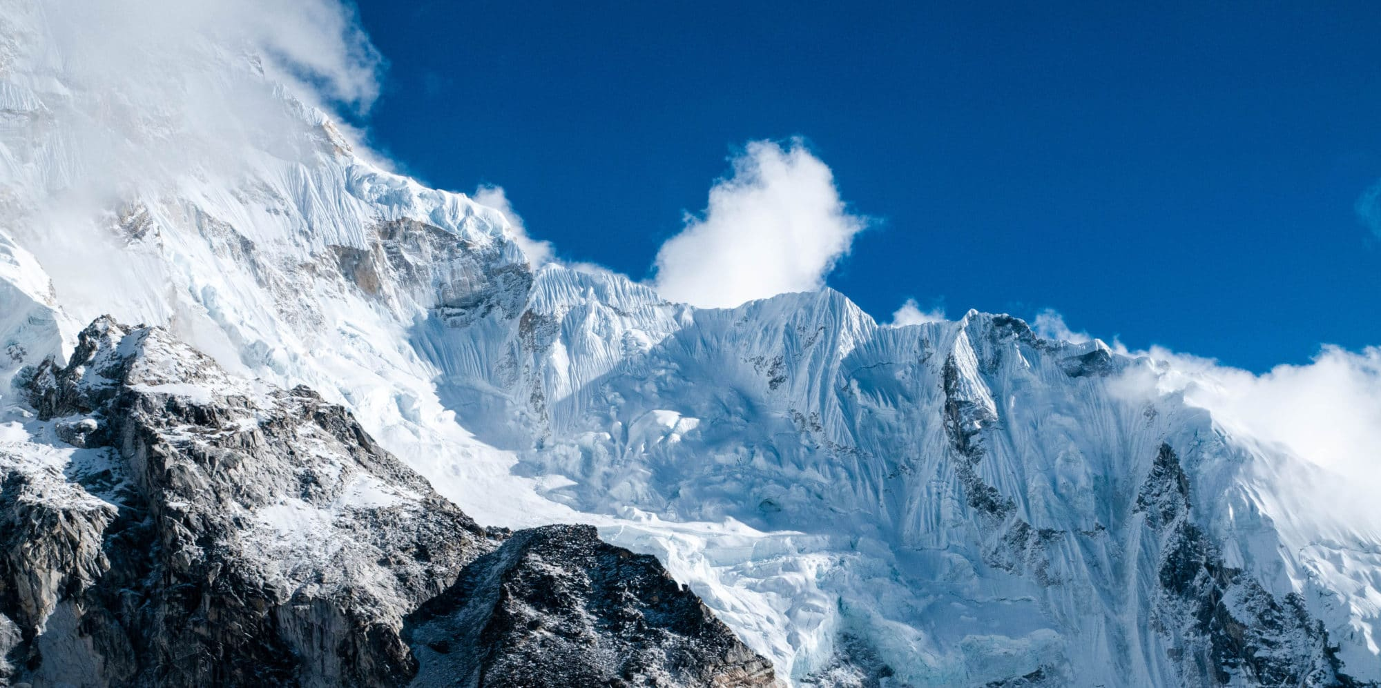 Ice and snow sculpted ridges of the Everest family of mountains