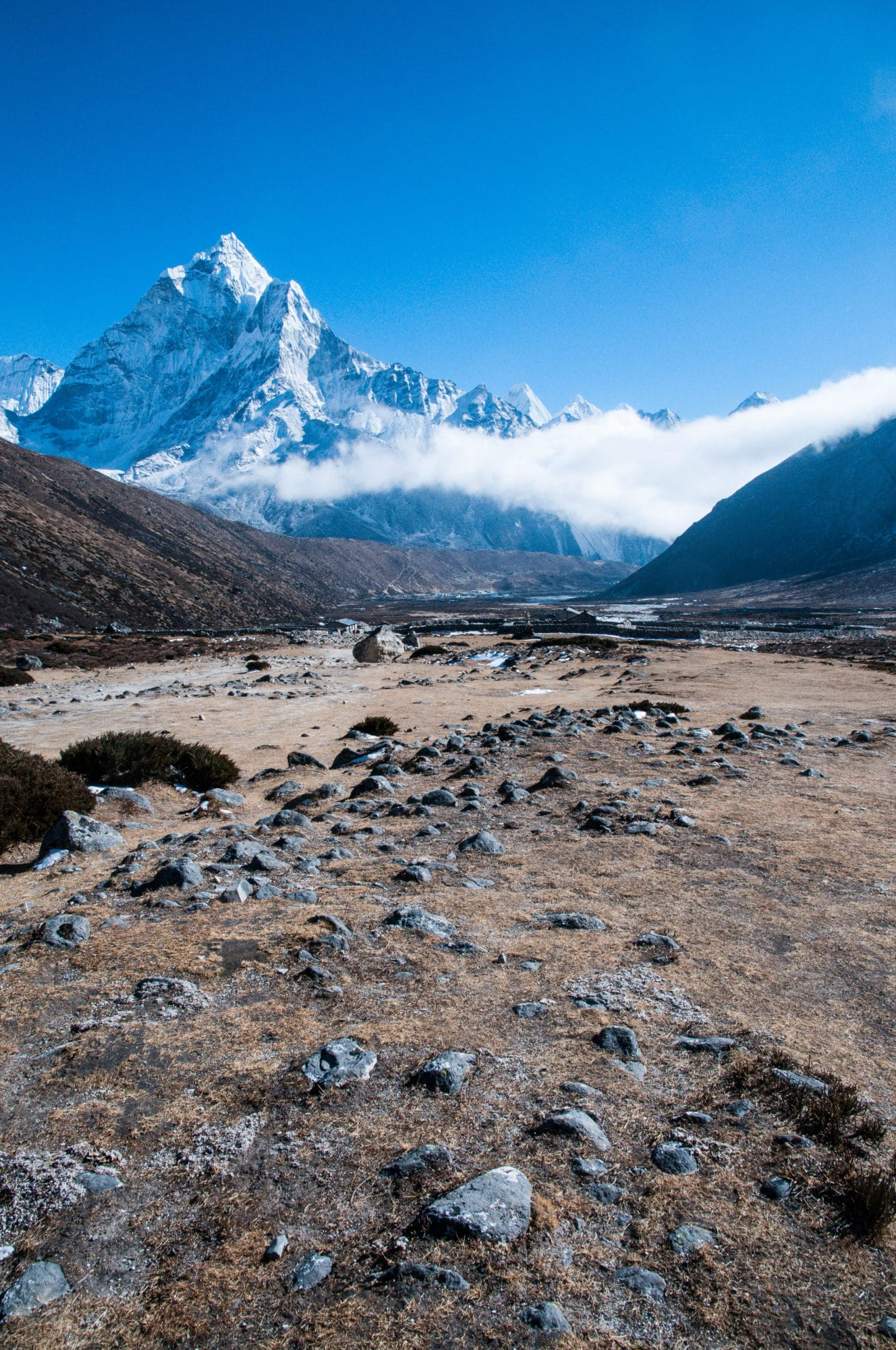 Walking down towards Pheriche with Ama Dablam in the distance