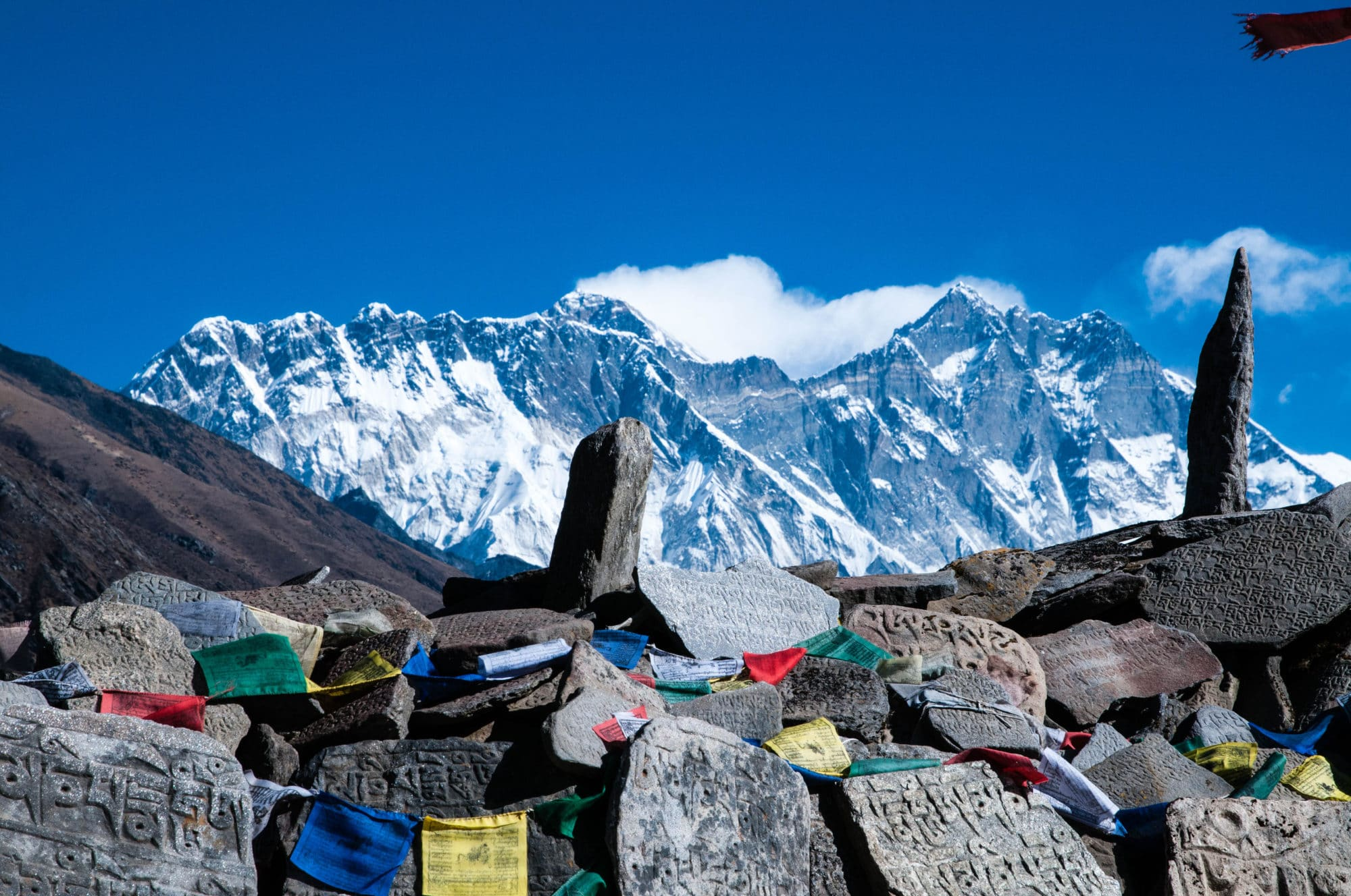 Mount Everest and Lhotse from Tengboche