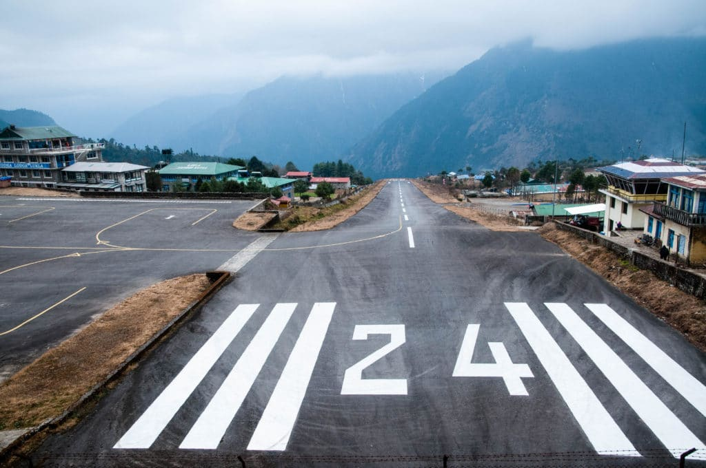 A Look down the Lukla airport runway