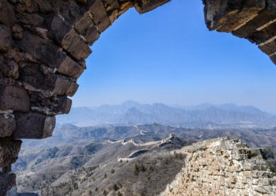 Inside a tower on the Great Wall