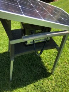 Renogy solar panel and Goal Zero Yeti collecting free energy in the backyard
